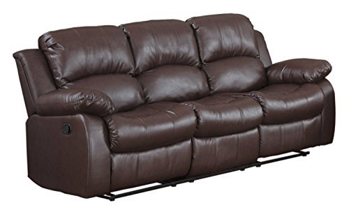 Bonded Leather Double Recliner Sofa Living Room Reclining Couch (Brown)