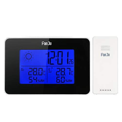 Estação meteorológica, retroiluminação digital sem fio operada por bateria Relógio despertador termômetro interno/externo com função de soneca LCD termômetro interno/externo
