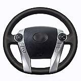 Shining Wheat - Funda para volante de coche de cuero negro p