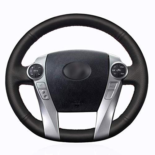 Shining Wheat - Funda para volante de coche de cuero negro para Toyota Prius 30 (XW30) 2009-2015 Prius C Prius V Aqua 2014 2015