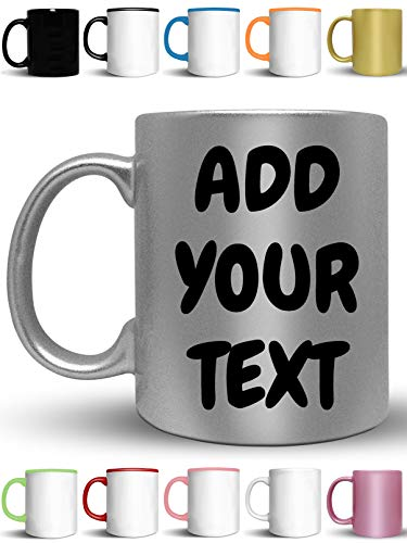 Custom Coffee Mugs - Add Your Name, Text or Letters - Personalized Ceramic Cups with Multiple Colors and Fonts - Monogram Novelty Mug
