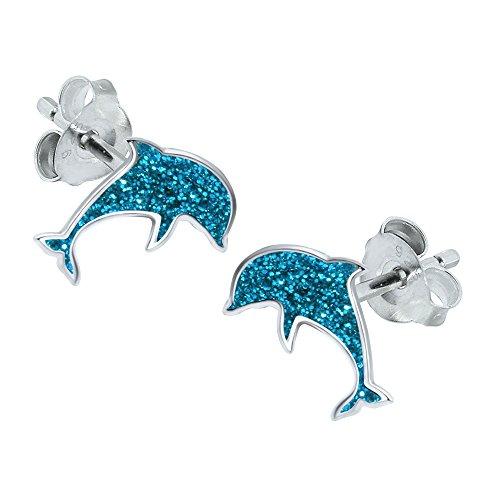 Orecchini a forma di delfino, in argento Sterling, con glitter blu
