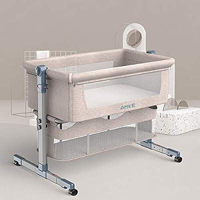 Baby Bassinet, AMKE Bedside Sleeper for Newborn Baby, Easy Folding Portable Crib, 5 Height Adjustment, White