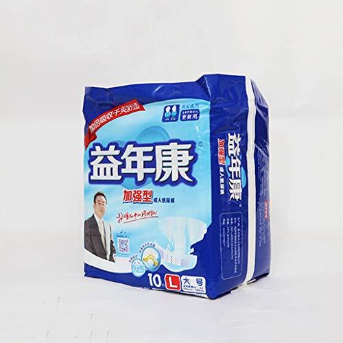 HKD Erwachsenen Windel Ohne Duft InkontinenzWindel Saugstarke Erwachsenenwindel 10 Stück (Color : White, Size : L)