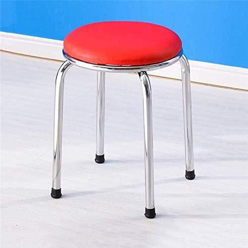 CHU N1 Tragbarer Tisch Hocker, wasserdichte Runde PU Kissen Metallträger stapelbarer Stuhl 106 (Size : 1)