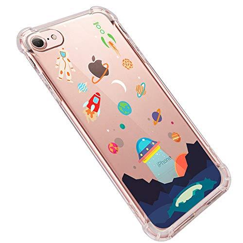 Teryei iPhone 7 Cover Custodia 4.7' Trasparente Antiurto Sottile Anti Scivolo Guscio in TPU Silicone Flessibile Gel Gomma Morbida Slim Protettiva Bumper Clear iPhone 7 Fiore Gatti (iPhone 7, 6)