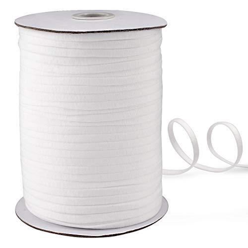 145 Yard 1/4 Inch Wide Black Elastic String Cord Bands Rope for Sewing Crafts DIY Mask (1/4 Inch 145 Yards) (White)
