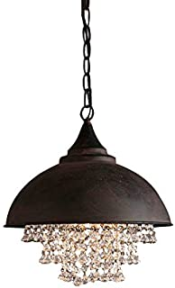 Lovedima Industrial Metal Dome Shade 1-Light Pendant Light with Clear Crystal