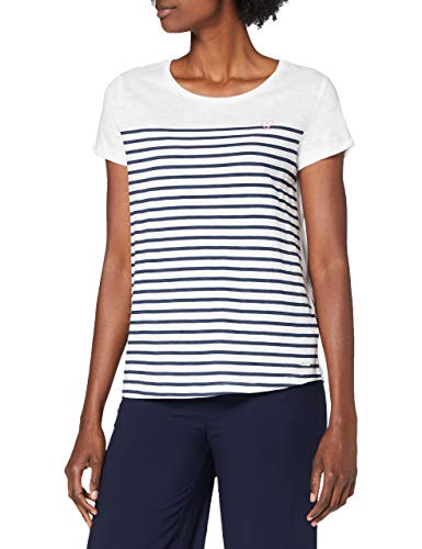 TOM TAILOR Denim Damen Streifenprint T-Shirt, Navy White Stripe, M