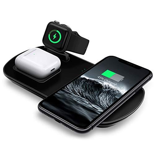 MixMart Induktive Ladestation, 3 in 1 Wireless Ladestation kompatibel mit iPhone 12/11/Pro Max,Airpods Pro/2, Kabelloses Ladegerät kompatibel mit iWatch 6/5/4 (mit iWatch Ladegerät/kein Adapter)
