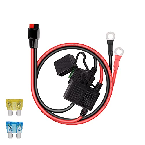 iGreely Dual Positive/Negative ATC Style Fuse Holder 10AWG Wire with Ring Terminals and 45A Connectors for Automotive 2ft/60cm