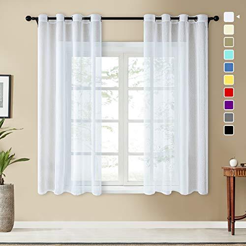 Topfinel Voile Vorhänge Leinenstruktur mit Ösen Durchsichtig Einfarbig für Fenster Wohnzimmer Schlafzimmer Moderne und Elegante Gardine 2er Set je 215x140cm (HxB) Weiß
