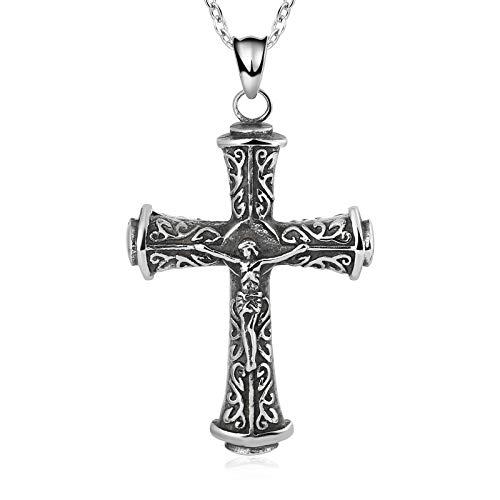 Aienid Collar de hombre de acero inoxidable con cruz de Jesús de...