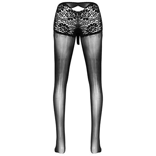 dPois Herren Strumpfhose Nylon Pantyhose Sexy Dessous Unterwäsche Glänzend Leggings Transparent mit Spitze Penis Hülle Erotik Lingerie Reizwäsche Schwarz 2XL