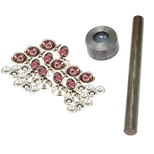 Trimming Shop 10mm acryl strass diamante klinknagel studs met instelling handgereedschap voor mode accessoire, leer ambachten, riemen, tassen, schoen, hond riemen
