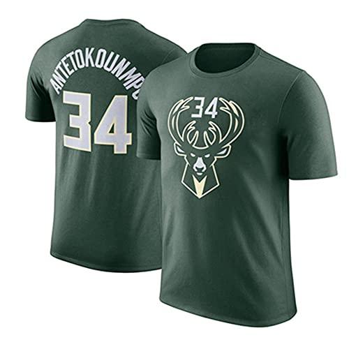 Wo nice Camisetas para Hombres, Milwaukee Bucks # 34 Giannis Antetokounmpo Camisetas De Baloncesto De La NBA Tops Sueltas Chalecos Casuales De Manga Corta,Verde,XXXL(190~195)