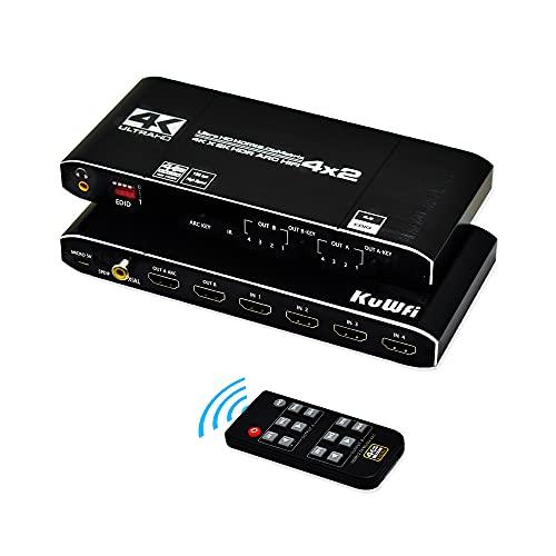 HDMI Switch 4K, HDMI Matrix 4 in 2 out, KuWFi HDMI mit Splitter-Unterstützung HDCP 2.2 IR-Fernbedienung HDMI-Schalter 4x2 Spdif 4K HDMI Matrixschalter (4K @ 60Hz ARC Matrix)