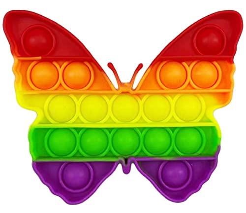 CRAZYCHIC - Pop It Fidget Toy - Popit Push Bubble Giocattolo Bambini Adulti - Gioco Antistress Rilassante Multicolore - Poppit Color Arcobaleno Ragazza Ragazzo - Farfalla