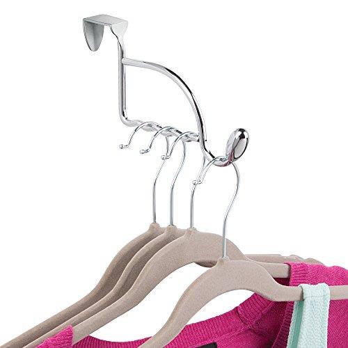 iDesign Orbinni Garderobenhaken für über die Tür, Metall, silberfarben, Kleiderstange für 4 Kleiderbügel