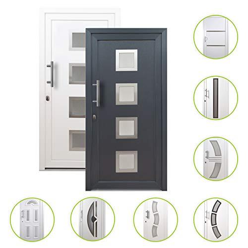HORI® Haustür Toulouse I Kunststoff Haustüre Eingangstüren Aussentür mit Glaseinsatz I Farbe: Weiß I DIN Links I Modell: Toulouse I 2000 x 1000 mm