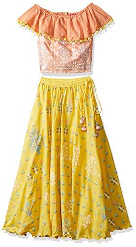 Biba Girls Cotton Straight Salwar Suit Set (KW3227_Orange/Yellow_11)