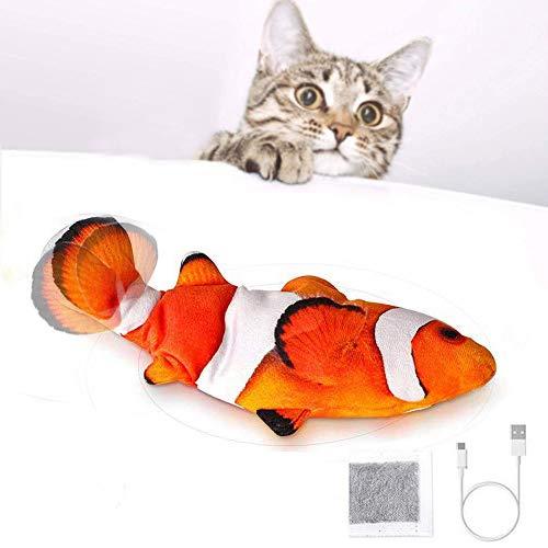 SOBW Katzenspielzeug Elektrisch Flippity Fish, Interaktiv Spielzeug FüR Katzen, Katzenspielzeug Mit Katzenminze, USB, Waschbar, FüR Katze Zum Spielen,BeißEn,Kauen Und Treten
