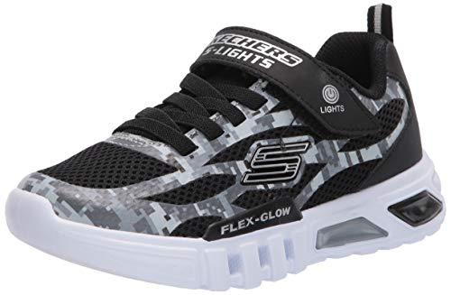 Skechers Skecher Flex-Glow Kinder Sneaker 400018L-BKGY Schuhe Schnürung Klettverschluss, Groesse 27, schwarz/weiß