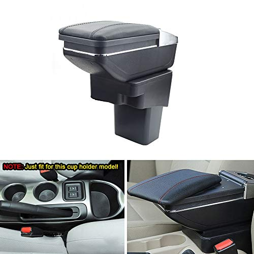 MyGone Center Console Armrest Box for Nissan Juke 2014-2017, Car Interior Accessories Leather Arm Rest Organizer with Adjustable Cup Holder Removable Ashtray Black