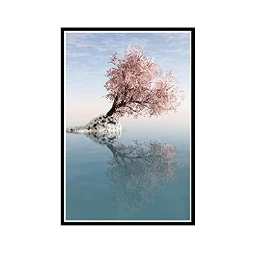 Nowoczesne miasto jezioro krajobraz przyczółek różowe drzewo obraz na płótnie plakaty i zdjęcia obrazy na ścianę do salonu Decor-50x75CM bezramowe