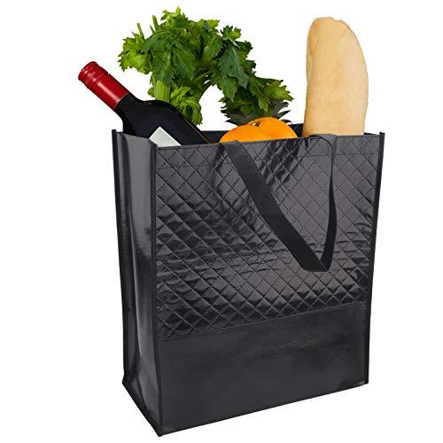 6 Piezas bolsas de supermercado reutilizables, 38 x 35 x 18cm No Tejido bolsa de compras portátil con asa, Bolsa de Viaje,Bolsa para Regalo Ecológica para frutas, verduras, comestibles, regalos Black