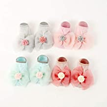 AYDWZ 4 Pairs Of Spring and Autumn Models Newborn 0 6 12 Months Cotton Thin Section Breathable Loose Mouth Slip Baby Princess Baby Socks