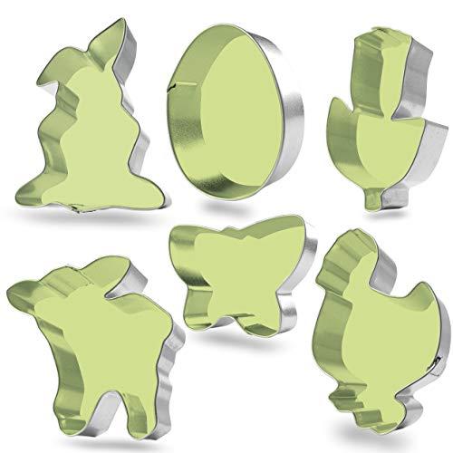 Plätzchenausstecher Ostern 6er Set – Plätzchenausstecher mit präzisen Ausstechkanten, kindersicher - Ausstechformen für Ostern und Frühling