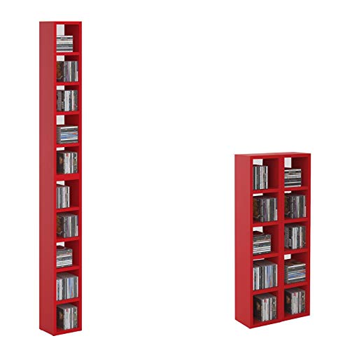 CD DVD Regal Ständer Aufbewahrung Chart, in rot mit 10 Fächern für bis zu 160 CDs, 20x186,5 cm (Breite x Höhe)
