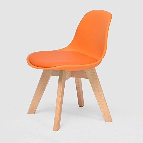 LJHA Tabouret pliable Creative chaise en bois massif enfants / dossier chaise d'étude de ménage / bébé à manger chaises / sécurité accoudoir petit banc 5 couleurs disponibles 33 * 55 cm chaise patchwork ( Couleur : Orange )