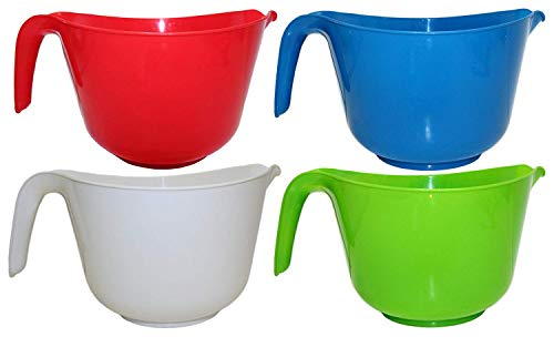 Set of 4 Black Duck Brand Classic Plastic 3 QT Mixing Bowls W/Handle and Spout, 4 Colors (Red,Orange,Green,Yellow)