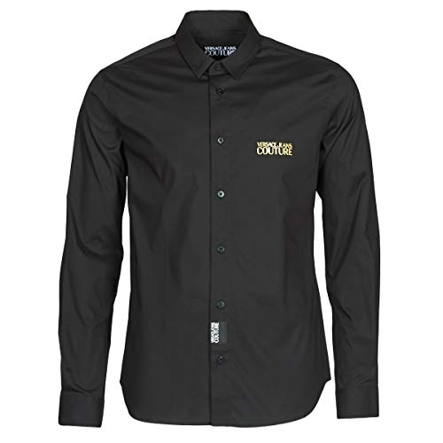 Versace Jeans Couture Slim Fit Icon Logo Poplin Shirt Large Black Gold