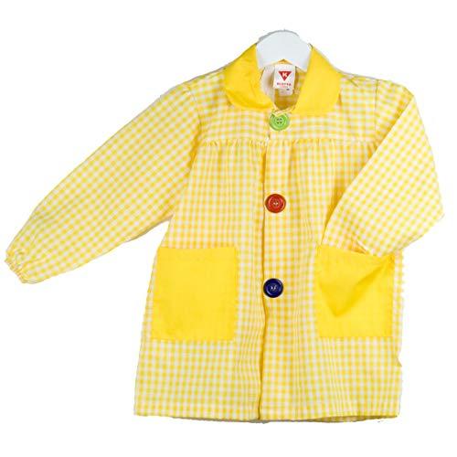 KLOTTZ - Babi cuadros guardería Bata escolar con botones y amplio colorido. Protección ropa en comedores y manulidades en casa. Niñas color: AMARILLO talla: 4