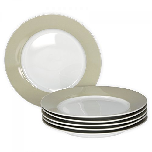 Van Well 6er Set Frühstücksteller Serie Vario Porzellan - Farbe wählbar, Farbe:beige