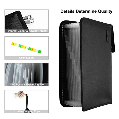 File Folder Document Organizer Pouch - Fire Resistant Water Resistant Filing Organizer Accordion Document Organizer Bag Office Expanding File Folder (File Folder 11+2 Pockets) Photo #5