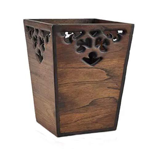 YIFEI2013-SHOP Papelera de cocina para tallar hueco, caja de almacenamiento de madera, cesta de papel sin cubierta, para oficina, hogar, escritorio, papelera (color: B)