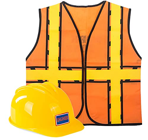 Construction Costume for Kids - Construction Hat and Costume Vest - Dress Up Accessories for Children by Tigerdoe (Construction Hat and Construction Vest)