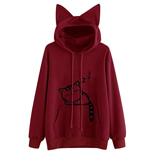 TOPKEAL Katze Long Sleeve Hoodie Pullover Damen Langarm Herbst Winter Kapuzenpullover Sweatshirt Winterpullover Jacke Mantel Tops Blouse Mode 2019 (rot, M)