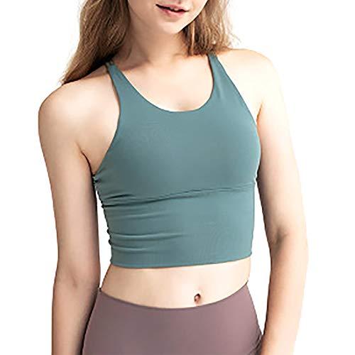 SIFANGPING - Canotta sportiva da donna con reggiseno Halter Yoga Sexy Running Lady Fitness traspirante, Donna, Verde, M
