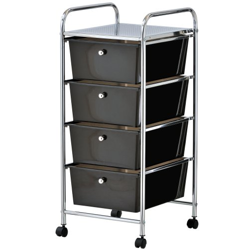 VonHaus Aufbewahrungs-Trolley Rollcontainer Rollwagen Aufbewahrungsboxen mit 4 Fächern, Chromrahmen und Rädern in Schwarz für Heim und Büro
