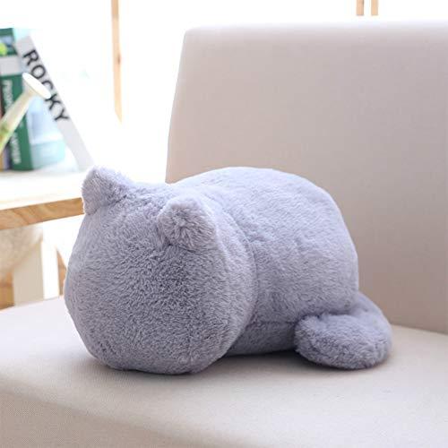 Ocamo 1Pc Cute Cartoon Cat Plush Cushion Pillow Back Shadow Cat Animal Toy Girfriend Gift Home Ornament gray 33X24X18CM
