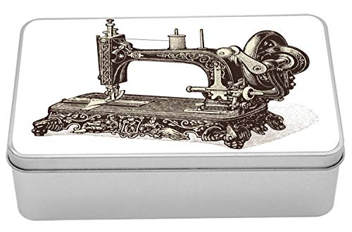 Ambesonne Steampunk Metal Box, Vintage Sewing Machine Hand-Drawn Sketch Antique Nostalgic Object Print, Multi-Purpose Rectangular Tin Box Container with Lid, 7.2
