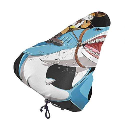 GOSMAO Divertido Gato Vaquero Montando tiburón Funda de Asiento de Bicicleta Impermeable Funda de cojín de sillín de Bicicleta