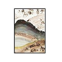 XKHSD 中国風インク抽象ゴールド流砂山風景キャンバス絵画リビングルームポスター壁絵スカンジナビアの装飾