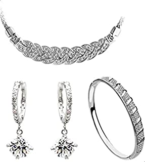 18K white gold plated austrian crystal women necklace/earrings/bracelet fashion jewelry sets