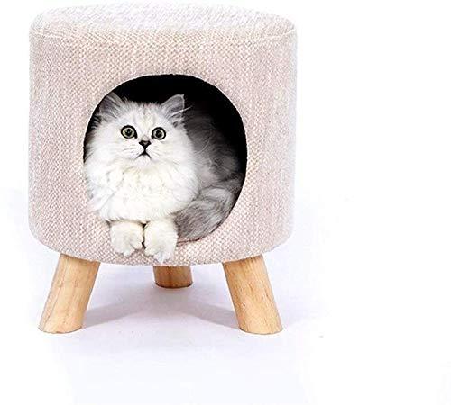 YLCJ Haustier Hund Katze Haustier Nest Hocker geformt Katzenstreu warm weichem Plüsch bequem zum Schlafen Winter, Tiefschlaf Haustierbett (Farbe: nackt, Größe: L)